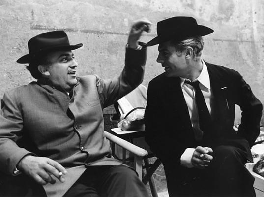 Fellini e Mastroianni sul set di Otto e mezzo